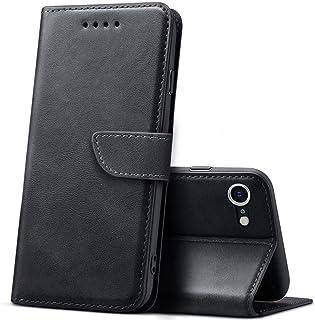 iPhone SE (2020) 手帳型 ケース iPhone8 ケース iPhone7 ケース スタンド機能付き カード収納 耐衝撃 シンプル PUレザー ケース ブラック [4.7インチ] ビジネス Qi充電対応