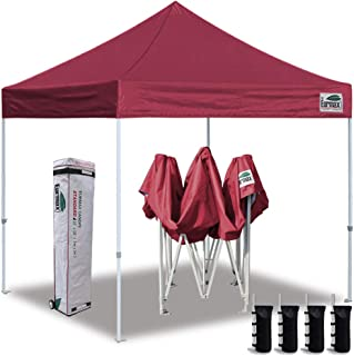 Eurmax 10'x10' Ez Pop Up Canopy Tent Commercial Instant Canopies Heavy Duty Roller Bag,Bonus 4 Sand Weights Bags (Wine Burgundy)