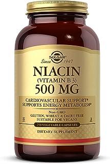 Solgar Niacin (Vitamin B3) 500 mg, 250 Vegetable Capsules - Cardiovascular Support - Energy Metabolism - Non-GMO, Vegan, G...