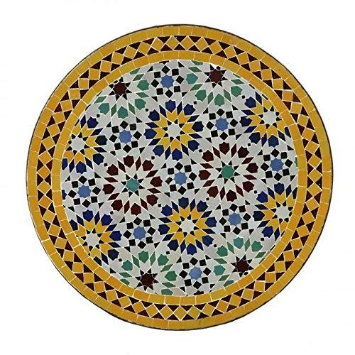 Casa Moro Orientalischer Gartentisch marokkanischer Mosaiktisch Ø 70 cm Ankabut Gelb | Kunsthandwerk aus Marrakesch | Dekorativer Beistelltisch Balkontisch | MT2089
