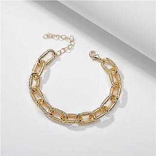أزياء المجوهرات العصرية مكتنزة جريئة المعادن سلاسل أساور للنساء يانجين (اللون: مطلي بالفضة)