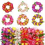 FT-SHOP Diademas Hawaianas Tropical Colorida Elástica Adornos de Cabeza de Flores para Luau Hawaiian Party Decoraciones Boda Cumpleaños Fiesta de Playa 24 Piezas