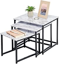 mDesign Modern Farmhouse Nesting Side/End Table - Metal Wood Design - Sturdy Vintage, Rustic, Industrial Home Decor Accent...