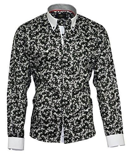 Binder de Luxe Herren Herren Hemd modern fit Langarm Button-Down-Kragen Schwarz Gemustert 44