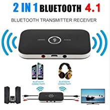 Sloovery 2in1 Bluetooth 4.1 Transmitter & Receiver Wireless A2DP Audio Adapter Aux 3.5mm Audio Player for TV/Home Stereo/Smartphone