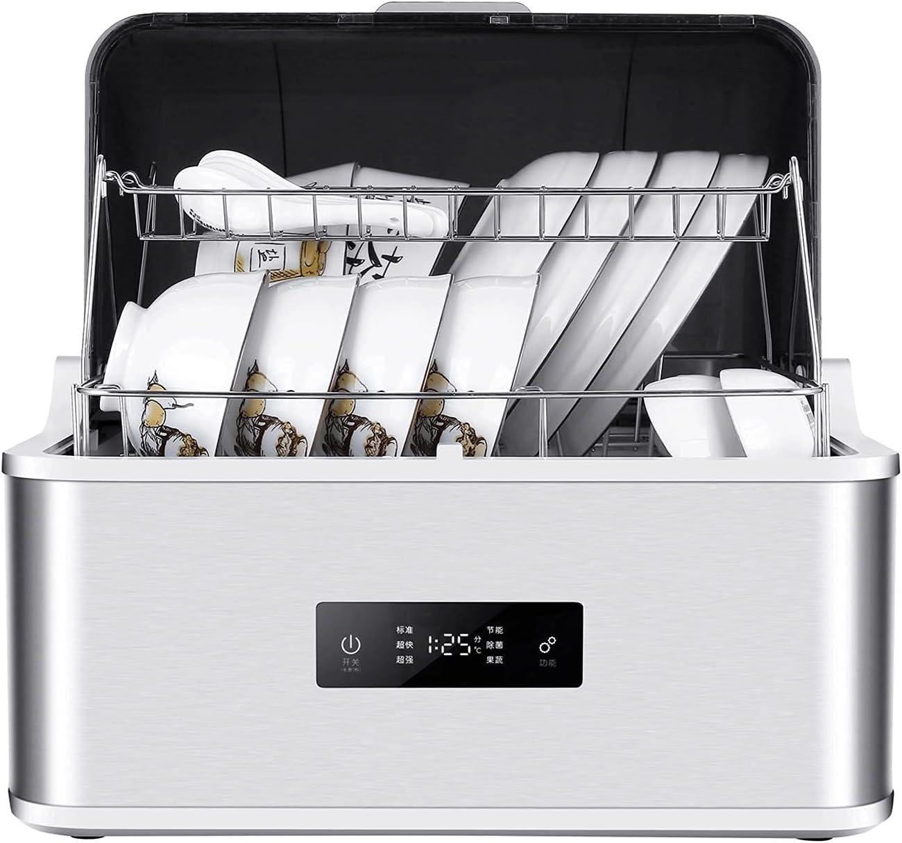 MOSHUO Lavavajillas de encimera, lavavajillas automático de encimera, Mini lavavajillas, Lavadora portátil para Platos de Frutas y Verduras, 5 programas, Tanque de Agua Incorporado de 6 litros