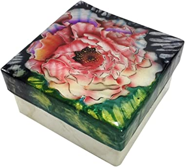 Kuble Craft Pink Peony Flower Blossom Capiz Shell Keepsake Box, 3 Inches Square