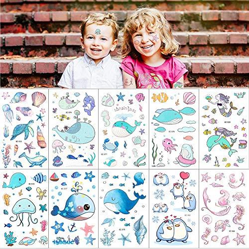 Ballena Tatuajes Pegatinas Para Niños Niñas, MOOKLIN Animal del oceano Tatuajes Temporales tatuajes de colores Para infantiles fiesta de cumpleaños regalo piñata Tortuga marina (Más de 156 tatuajes)