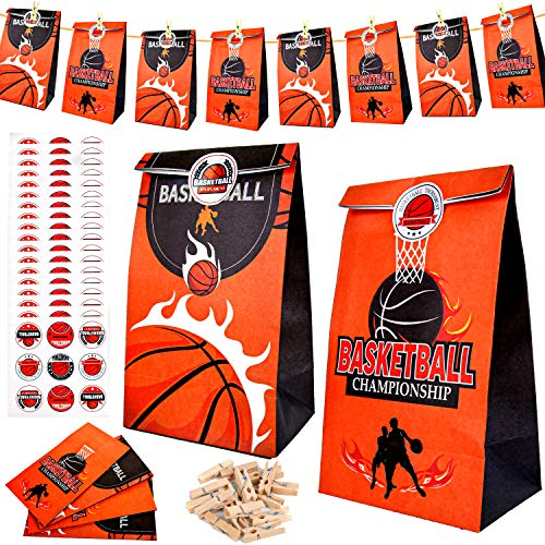 PROLOSO 24 Pack Basketball Party Favor Bags with Stickers Clips Rope Basketball Sports Treat Bags Candy Goody Bags Gift Bags Basketball Theme Party Supplies