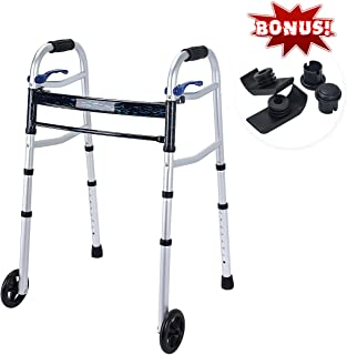 Healthline Compact Trigger Release 350 lbs Folding Walker with 5