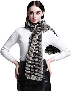 Women's Rex Rabbit Fur Winter Scarf Knitted Chunky Fashion Ladies Scarves Silver Brown Silver Black