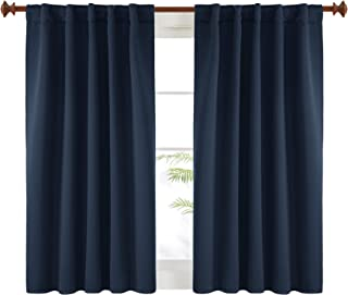 Deconovo Blackout Curtains Back Tab and Rod Pocket Curtains 2 Panels (42W x 45L Inch, Navy Blue)