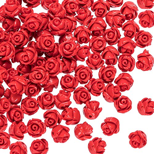 OIIKI 100PCS Cinnabar Carved Rose Beads, 8mm Red Rose Charms for Jewelry Making, Flower Carving Loose Beads