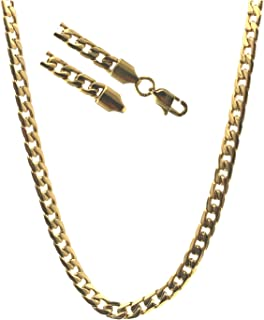 Gold Cuban Link Chain 5MM, 24K Diamond Cut Overlay Premium Fashion Jewelry Necklaces 20x More Gold, Resists Tarnishing, 16-30 Inches