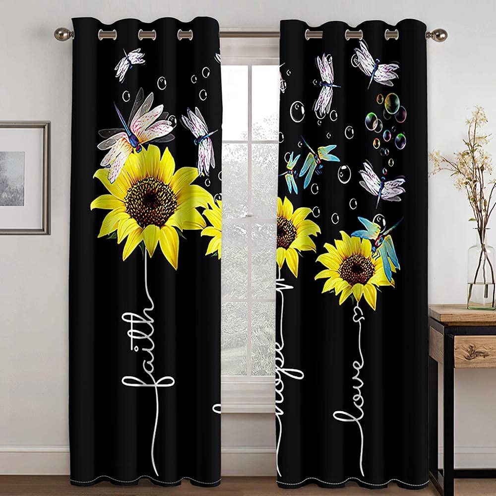 Blackout Curtain for Bedroom Dragonfly At the Dealing full price reduction price Insulat Thermal Sunflower