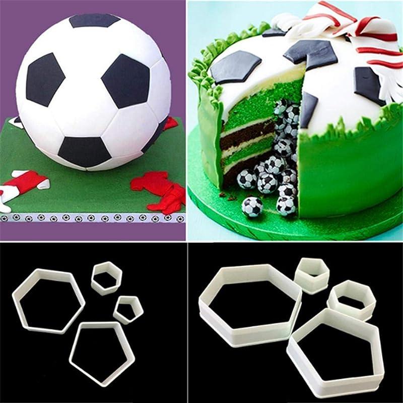 AT27clekca Cake Mold Baking Accessories 4Pcs Football Soccer Fondant Cutter Cookies Mold Cake Decorating Sugarcraft