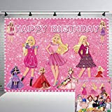 Barbie Party Backdrop Pink Photography Background Glamour Girl Lady Birthday Party Banner Cake Table Decoration Decor Props Photo Shoot 7x5Ft