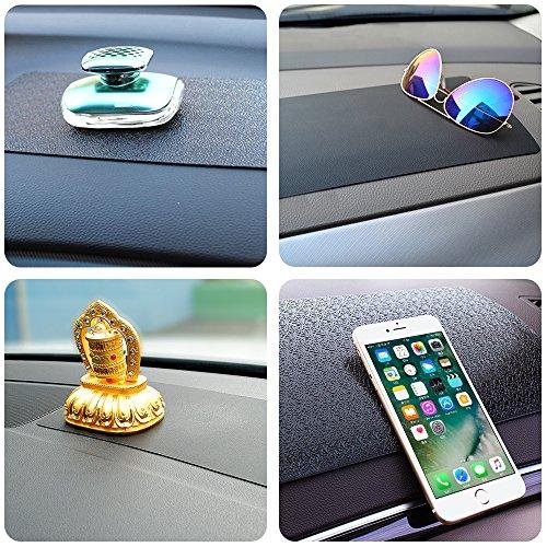 Aifuda - Lot de 3 tapis antidérapants pour tableau de bord de voiture - 27,9 x 17,8 cm - Pour téléphone portable, clé, lunettes de soleil - Noir