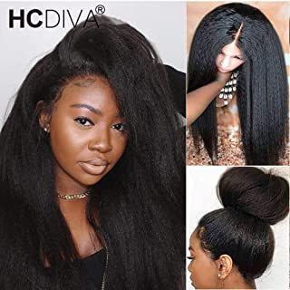 HCDIVA Kinky Straight 360 Yaki Lace Frontal Human Hair Wigs Pre Plucked with baby hair150% Density Peruvian Lace Front Wig Glueless Human Hair Wigs For Women (24inch, 360 KS)