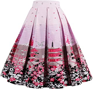 a6fb3d75ee31f Dressever Women s Vintage A-line Printed Pleated Flared Midi Skirts