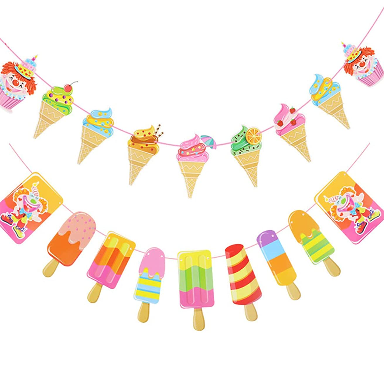 2 Pcs Ice Cream Party Decoration Ribbon Banners Stickers & Confetti Summer Theme Styles for Wedding Birthday