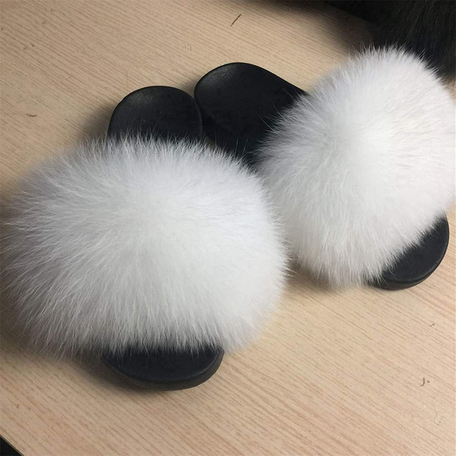 Real Fox Slipper Women Slides Sliders Fashion Spring Summer Autumn Fluffy Fur Lady