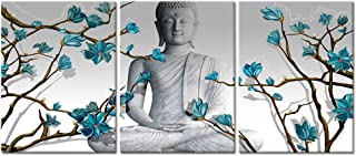 Visual Art Decor 3 Pieces Buddha Wall Art Buddha Statue with Abstract Blue Flowers Painting Canvas Prints for Living Room Bedroom Office Picture Decoration