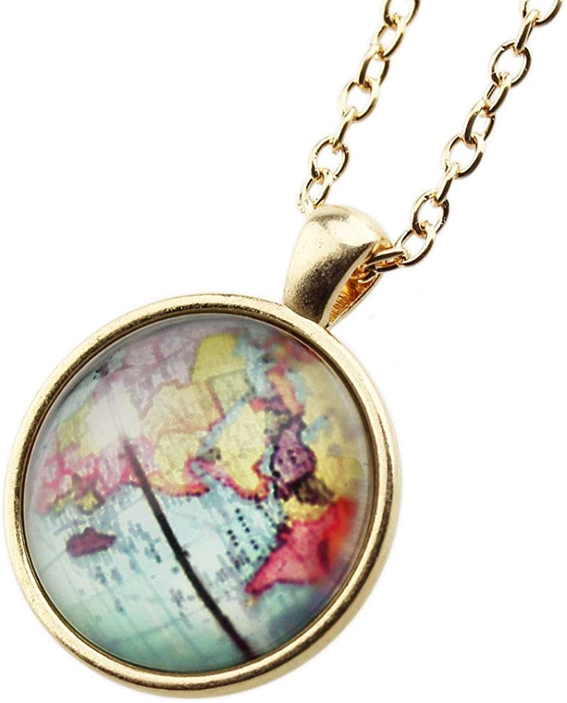 FOY-MALL Gold-Tone Time Gem Globe Pendant Chain Necklace XL1597N