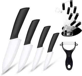 Juego de cuchillos de cerámica, juego de cuchillos de cocinero de cocina, cuchillo de pan de verduras superafilado, a prueba de óxido y resistente a las manchas (negro)