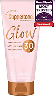 Coppertone Glow Hydrating Sunscreen Lotion with Illuminating Shimmer Minerals and Broad Spectrum SPF 30, Water-Resistant, ...