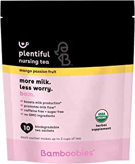 Bamboobies Pregnancy Tea for Nursing Support | 10 Tea Bags | Mango Passion Fruit | Boosts Milk Production | Organic, Non G...