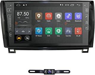in Dash Android 9.0 Double Din 9 Inch Capacitive Touch Screen Car Stereo Video Receiver Player GPS Navigation with Bluetooth for Toyota Tundra Sequoia Multi-Media 7 Color Button Illumination