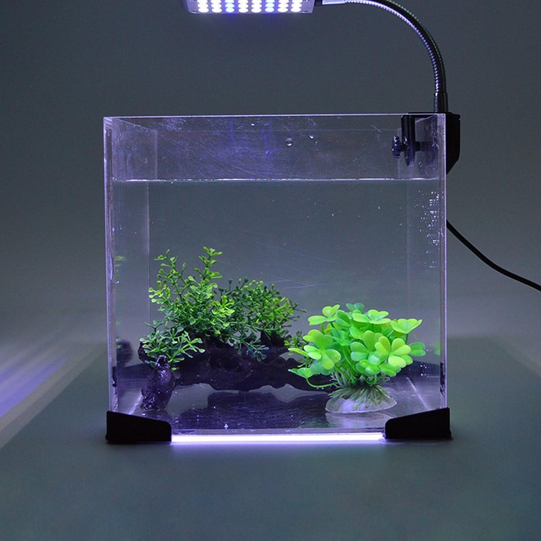 Glighone LED Aquarium Lights Clip on Light Fish Tank LED Lighting White and bluee, JL48