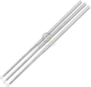 G.S 3pc Set of Billeau Ear Loop Ear Loop Curette Ear Pick Ear Wax Removal Stainless Steel Cleaning Tool, Medic Grade Best ...
