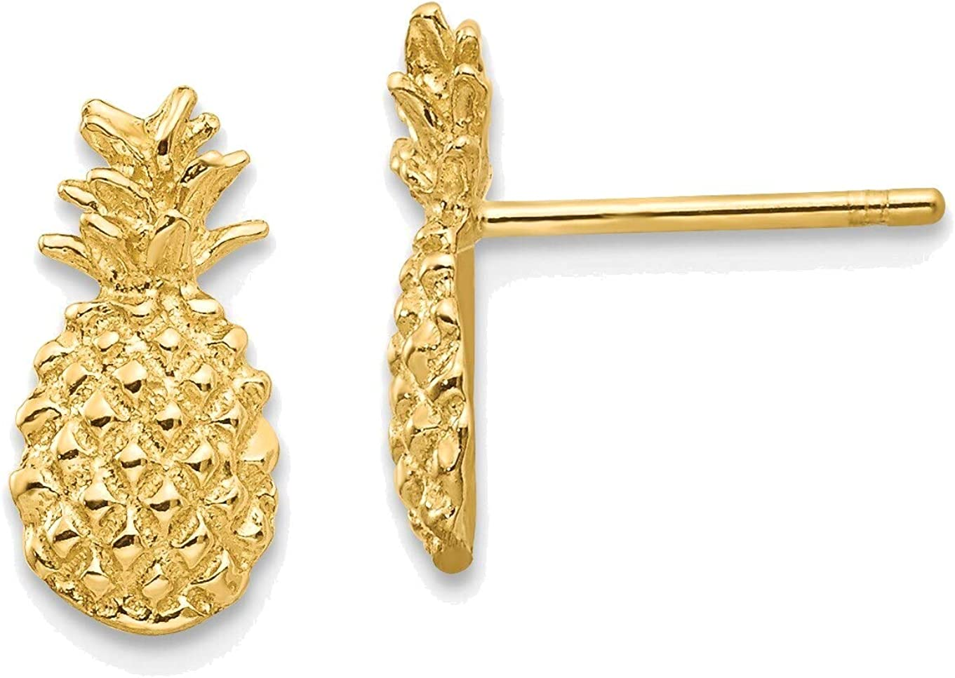 Polished and Textured Pineapple Post Earrings in 14K Yellow Gold