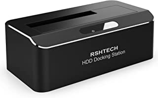 RSHTECH USB 3.0 to SATA Hard Drive Docking Station Single Bay External Disk Enclosure for 2.5 or 3.5 inch HDD SSD, Support UASP and Up to 10TB Drives, Tool-Free Aluminum Housing with ABS Spring Cover