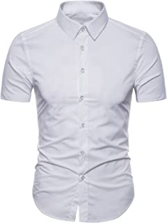 Men's Dress Shirts Slim Fit Short Sleeve Casual Business Cotton Button Down Shirts