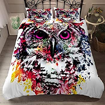 Animals Pattern Owl Bedding Watercolor Duvet Cover Color Painting Bed Sets Comforter Cover for Boys Girls Kids Teens Queen Size 1 Duvet Cover with 2 Pillowcases