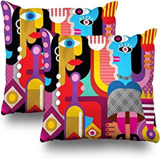 Kutita Set of 2 Decorative Pillow Covers 18x18 inch Throw Pillow Covers, Two Dancing Women Abstract Graphic Fine Art Pattern Double-Sided Decorative Home Decor Pillowcase