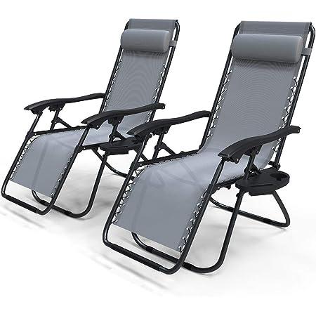 VOUNOT Lot de 2 Chaise Longue inclinable avec Support de Gobelet Amovible Chaise de Jardin Pliable en Textilène Chaise Longue avec Rembourrage de Tête Amovible Charge Max 120KG Fauteuil Relax Gris