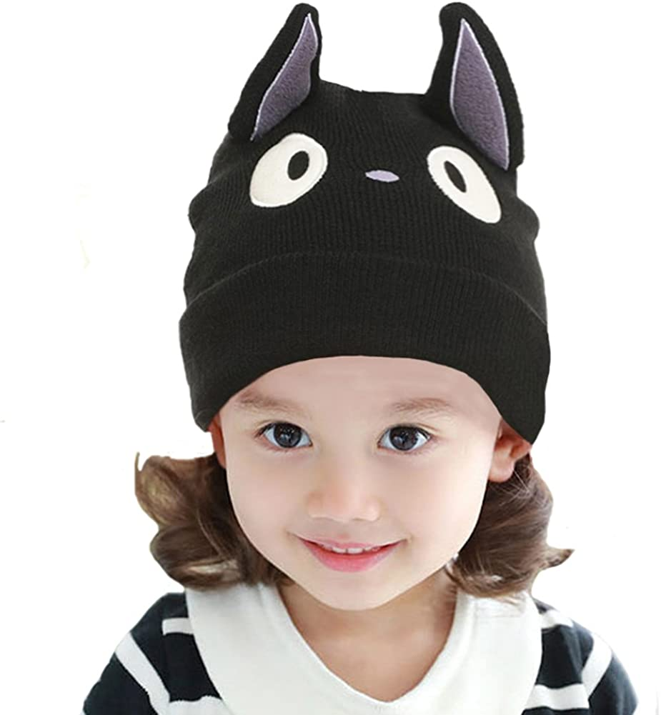 Myosotis510 Cute Parent-Child Knitted Cat Bear Ear Cap Beanie Black
