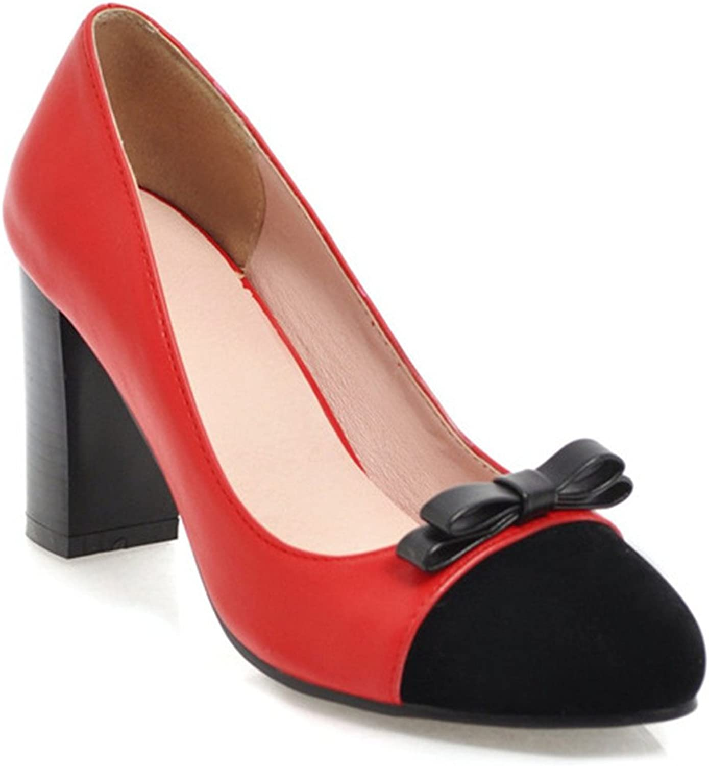 Women Pumps High Heels Party shoes Slip On Thick Heels Ladies Pumps Bow Shallowshoes