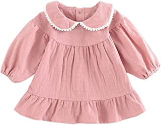 Fairy-Baby Toddler Girls Long Sleeve Skirt Simple Wild Style Autumn and Spring Girls Pleated Dress Woven Cute Tassel Doll Collar Solid Color Girls Dress (Color : Pink, Size : 90cm)
