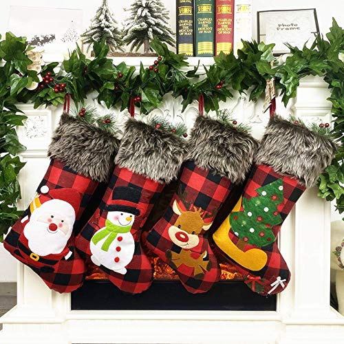 GoldFlower Christmas Stockings 4 Pack, Large Festival Christmas Decorations, Rustic Classic Personalized Christmas DIY Craft Ornament Gifts Decor for Family Holiday Party Home Christmas Eve