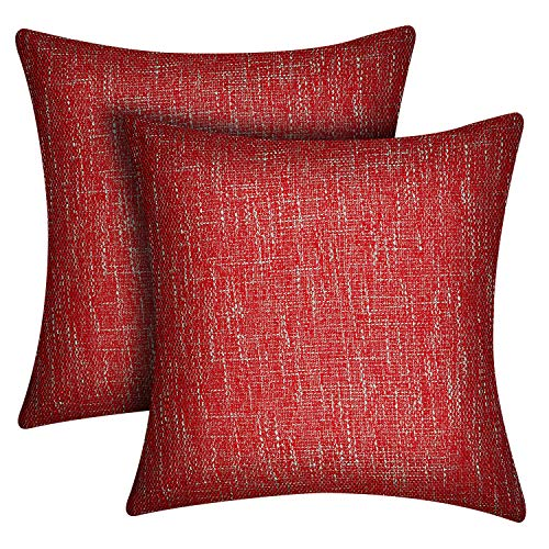 Lirex 2 Paquetes Fundas de Almohada de Lino, 45 x 45cm Flax Linen Decorativas de Lino Suave Color Sólido Cuadradas Funda Almohadas, Antiestática y Transpirable - Vino Rojo