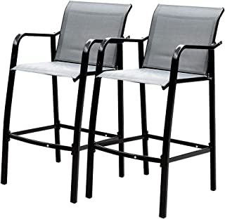 Sundale Outdoor Counter Height Bar Stool All Weather Patio Furniture with Quick-Dry Textilene Fabric, 2 PCS Set (Gray)