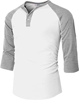 H2H Mens Casual Slim Fit Henley T-Shirts Raglan Baseball Sleeve of Various Styles