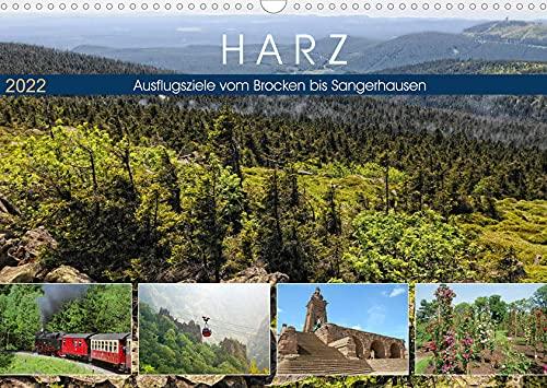 Harz - Ausflugsziele vom Brocken bis Sangerhausen (Wandkalender 2022 DIN A3 quer): Die wilde Natur im Harz und seine Sehenswuerdigkeiten (Monatskalender, 14 Seiten )
