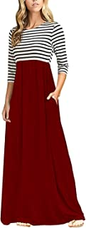 Women's Casual Striped Sleeveless Floral Print Bohemian Tank Dresses Party Evening Long Maxi Dresses with Pockets