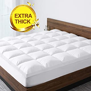 Starcast Sleep Solution Extra Thick Mattress Topper(King Size),Cooling Cotton Plush Down Alternative Fill Mattress Pad Cover,Gel Fiber Filled Bed Pillowtop(Deep Pocket 8-21Inch) Pillow Topper